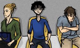 cartoon drawing three strangers people waiting