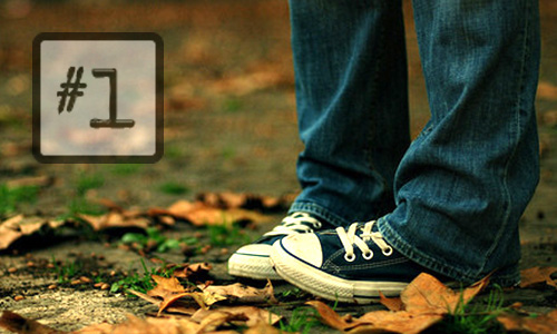 shy embarrased apology feet sneakers fall leaves close closeup