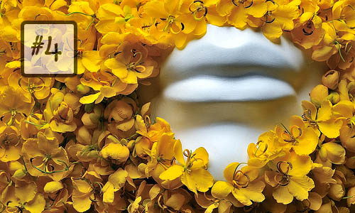 mannequin lips flowers artistic yellow flower petals