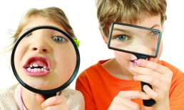 kids with magnifying glass magnifying glasses