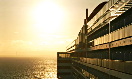 hope floats - cruise ship at sunset
