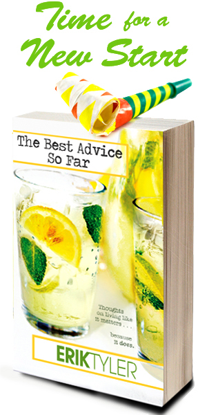 The Best Advice So Far: Book cover with party favor on top and headline Time for a New Start