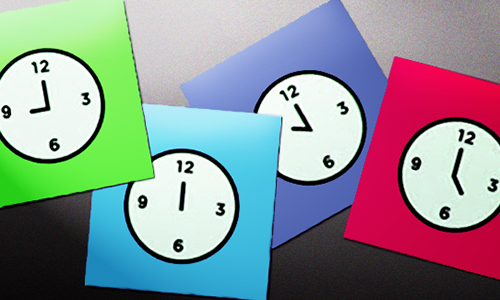 brightly colored paper clocks
