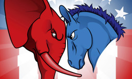 how to vote - The Best Advice So Far - red elephant and blue donkey head-to-head