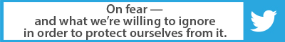The Best Advice So Far: On fear — and what we're willing to ignore in order to protect ourselves from it.