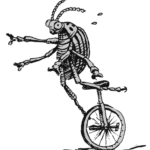 sketch of a beetle-like bug riding a unicycle