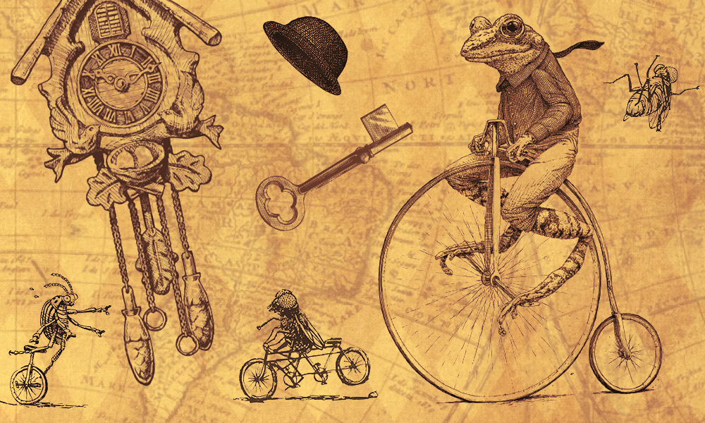 sketched montage of frog on a penny farthing bike, bugs on bikes, a cuckoo clock, key and derby hat