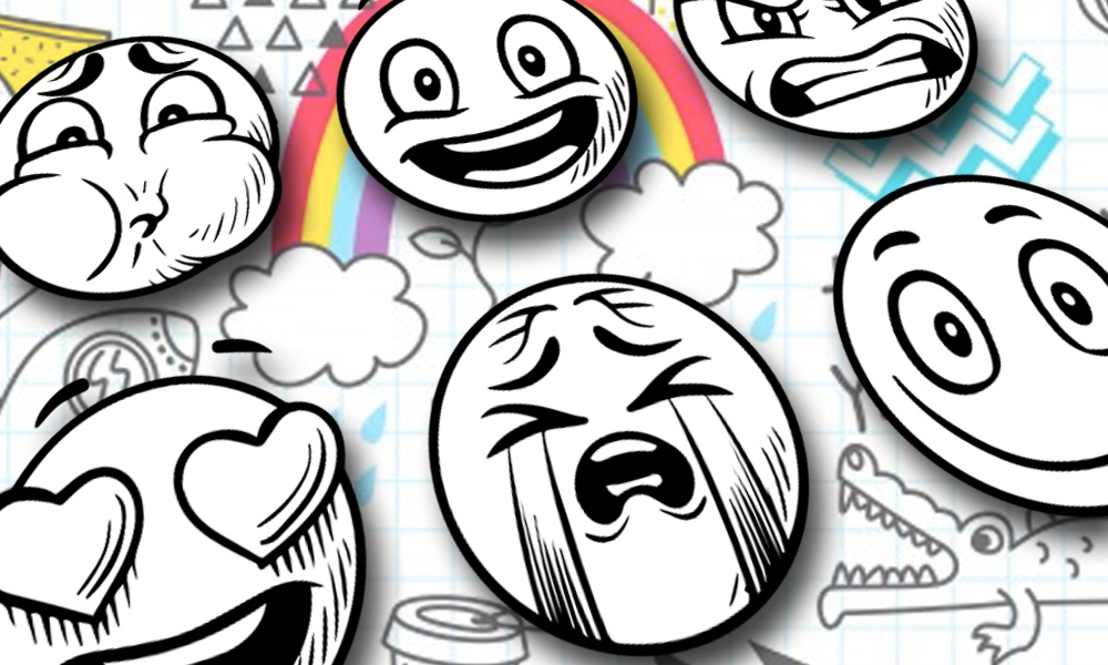 Stylized sketched emoticons (happy, mad, crying, love) against random doodle background