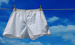 white cotton briefs/underwear hanging on a clothes line