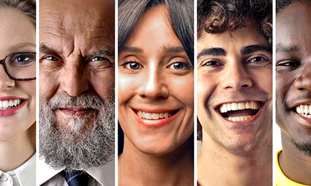 Five diverse faces: a young white woman, an older Jewish man, a middle-aged Hispanic woman, a white male teen, a young black male